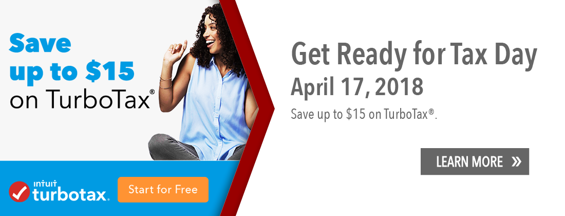 Get ready for Tax Day. Save up to $15 on TurboTax. Start for free. Learn more.